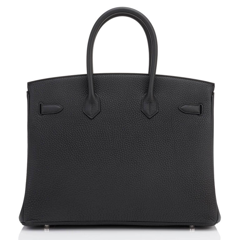 Hermes Birkin 35cm Black Togo Palladium Hardware C Stamp, 2018 For Sale 2