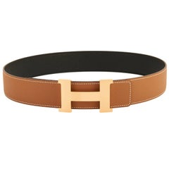 Hermes Belt Gold and Black Reversible Leather Gold Buckle Constance 42mm 85cm
