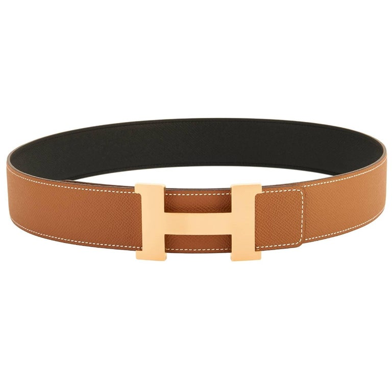 Hermes Belt Gold and Black Reversible Leather Gold Buckle Constance 42mm 85cm For Sale