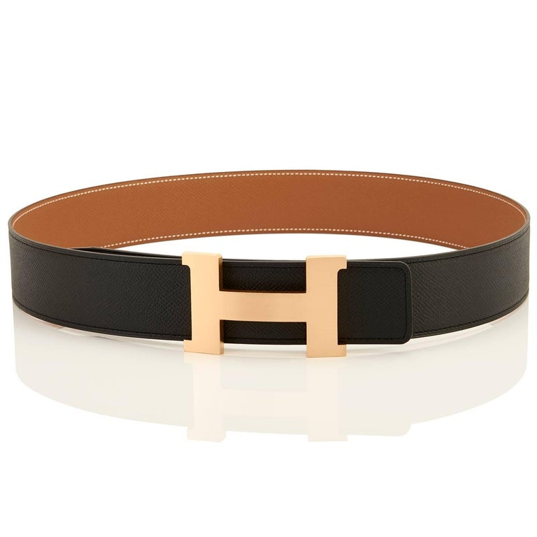 Brown Hermes Belt Gold and Black Reversible Leather Gold Buckle Constance 42mm 85cm For Sale