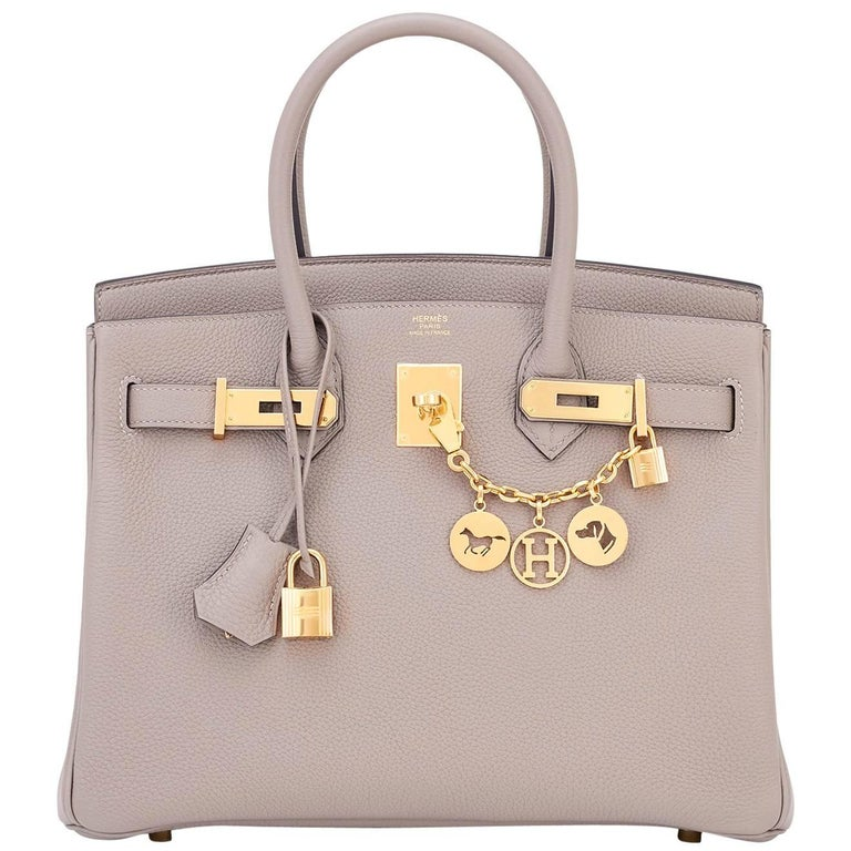 9f9cde76ebf Hermes Birkin 30cm Gris Asphalte Dove Grey Togo Gold Hardware Bag For Sale