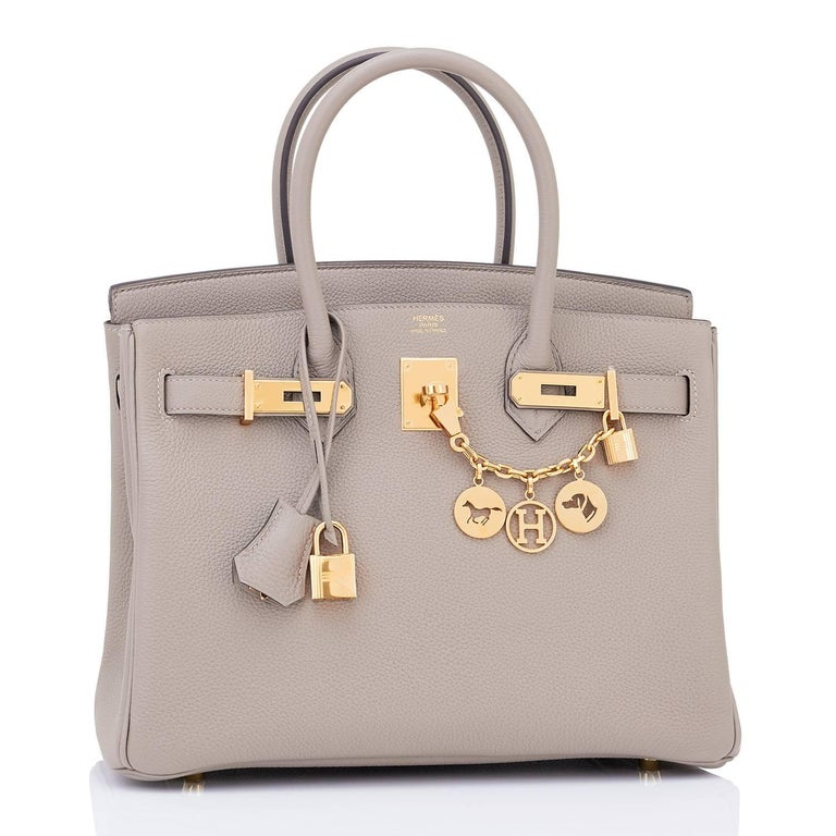 Hermes Birkin 30cm Gris Asphalte Dove Grey Togo Gold Hardware Bag C Stamp, 2018 2