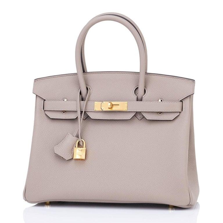 Hermes Birkin 30cm Gris Asphalte Dove Grey Togo Gold Hardware Bag 4