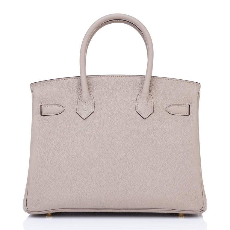 Hermes Birkin 30cm Gris Asphalte Dove Grey Togo Gold Hardware Bag 5