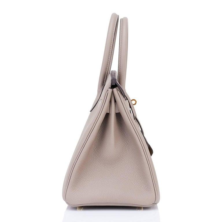 Hermes Birkin 30cm Gris Asphalte Dove Grey Togo Gold Hardware Bag 6