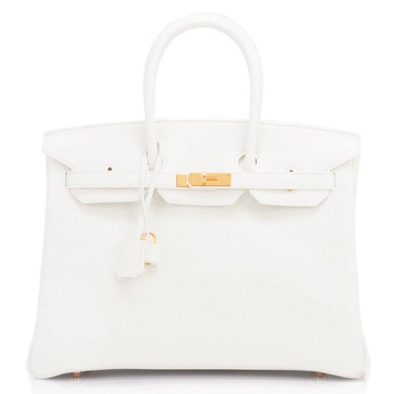 Gray Hermes Birkin 35cm White Clemence Gold Hardware Bag  For Sale