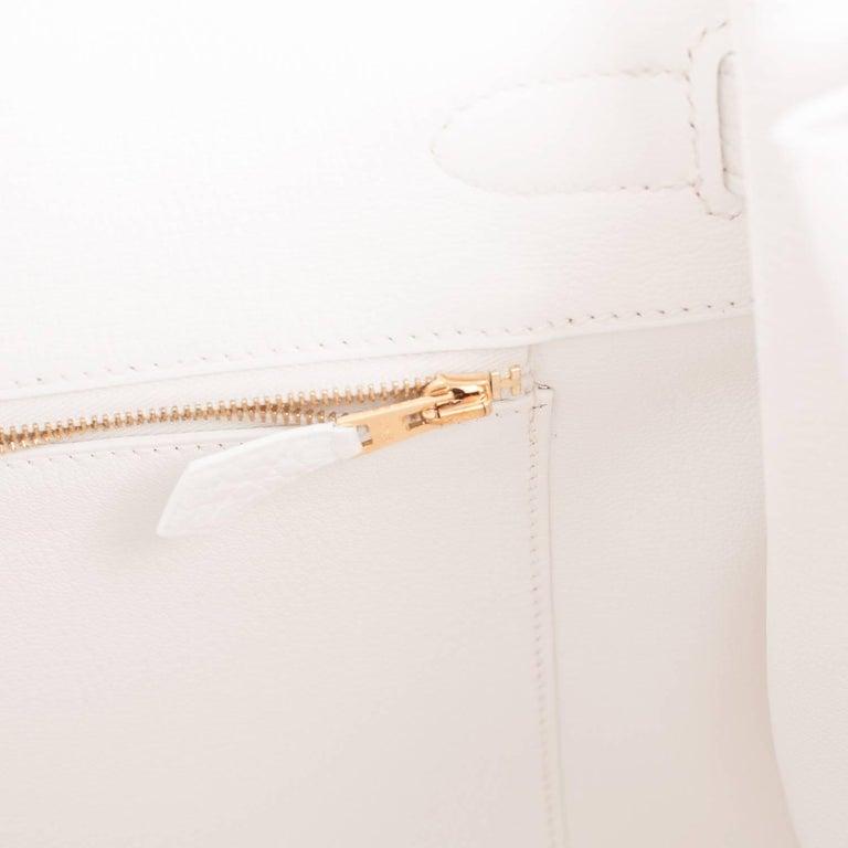 Hermes Birkin 35cm White Clemence Gold Hardware Bag  For Sale 3