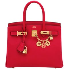 Hermes Birkin 30cm Rouge Casaque Birkin Red Epsom Gold Hardware D Stamp, 2019