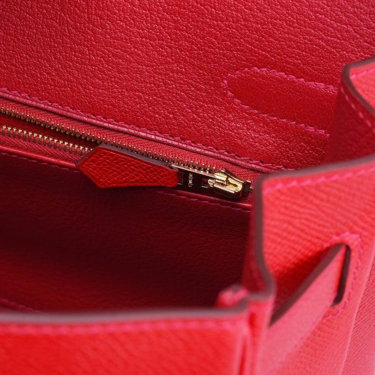 Hermes Birkin 30cm Rouge Casaque Birkin Red Epsom Gold Hardware D Stamp, 2019 For Sale 5