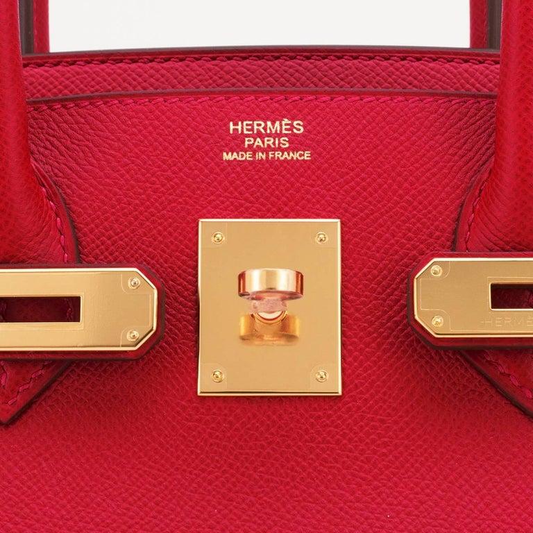 Hermes Birkin 30cm Rouge Casaque Birkin Red Epsom Gold Hardware D Stamp, 2019 For Sale 6