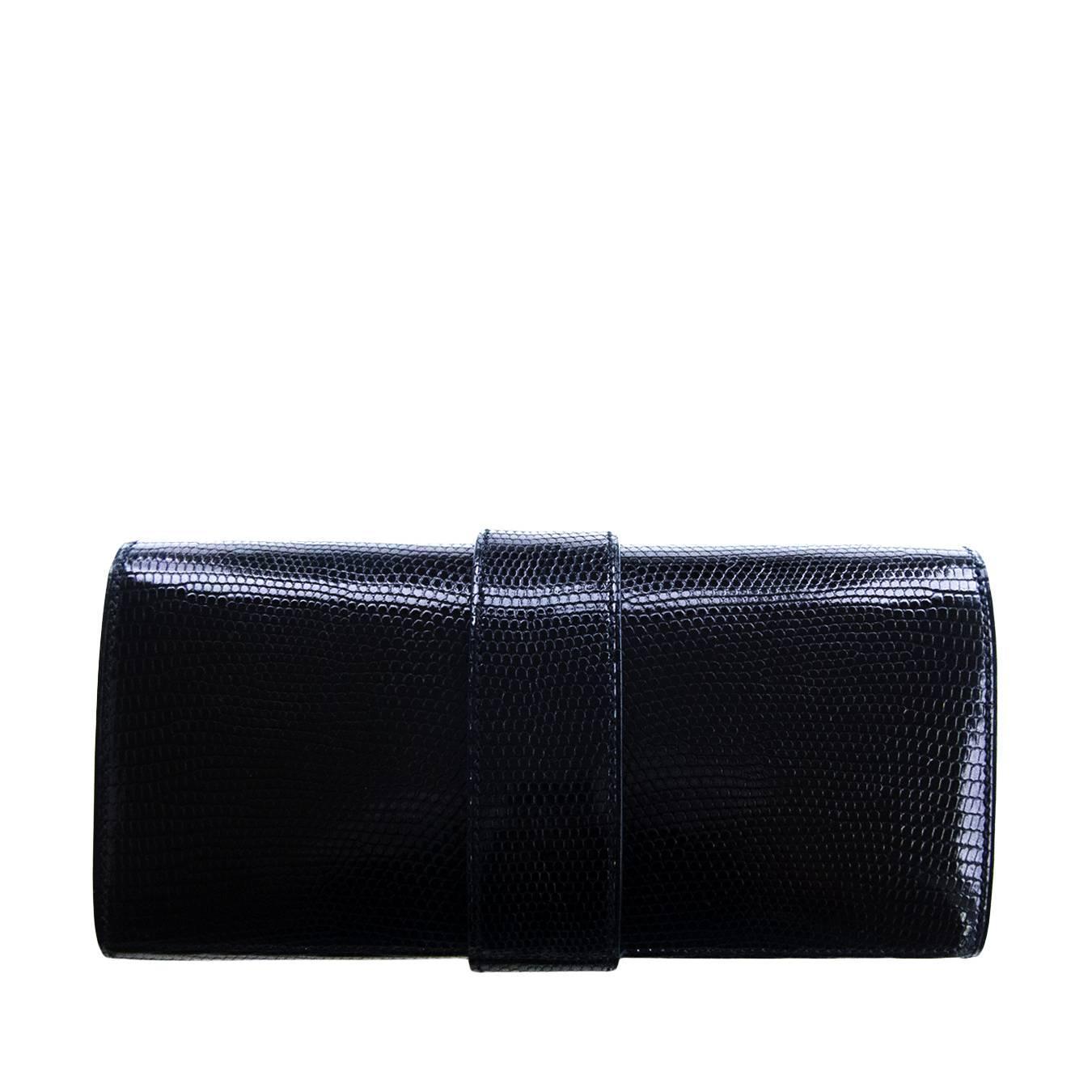 mens hermes wallet - Hermes Black Lizard Niloticus Lisse Medor Pochette 23cm Clutch Bag ...