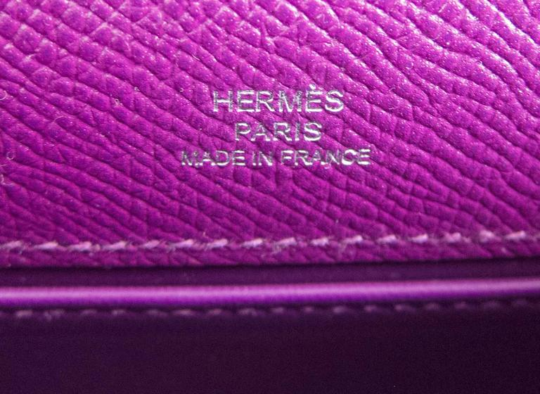 Hermes Anemone Palladium Kelly Pochette Epsom PHW Clutch Cut Bag Love 5