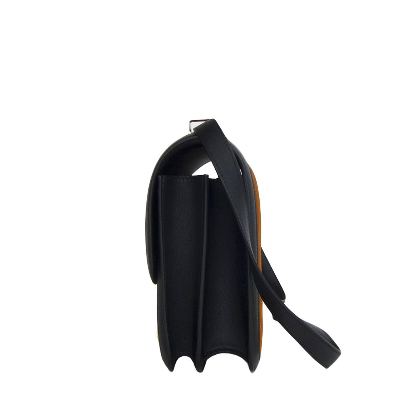hermes bags and wallets - Hermes Alezan Doblis Black Swift Constance Double Gusset MM Bag at ...