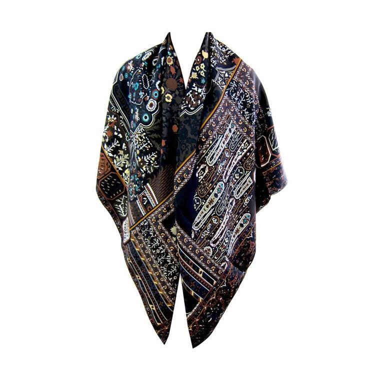 Hermes Tapis Persans Giant Silk GM Neutral Shawl Scarf ...
