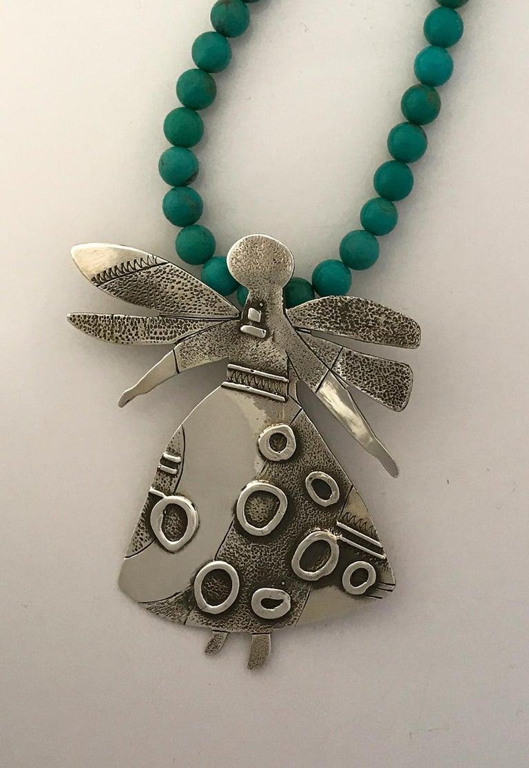 Salt Water Girl, Melanie Yazzie enhancer, pendant, sterling silver,  Navajo  For Sale 3