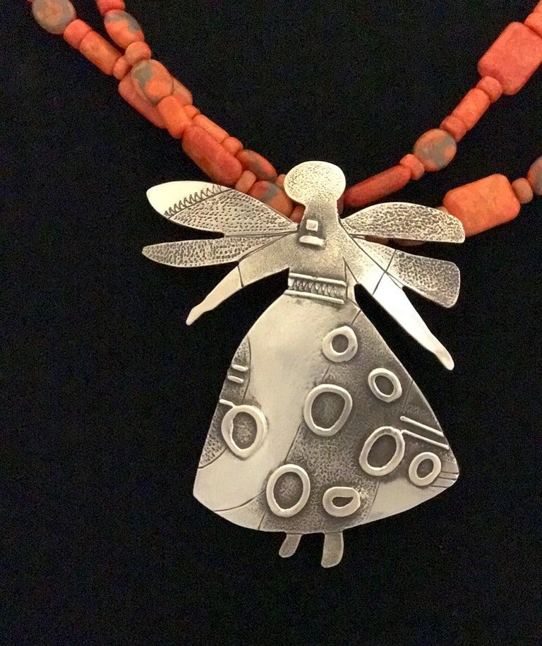 Salt Water Girl, Melanie Yazzie enhancer, pendant, sterling silver,  Navajo  For Sale 4