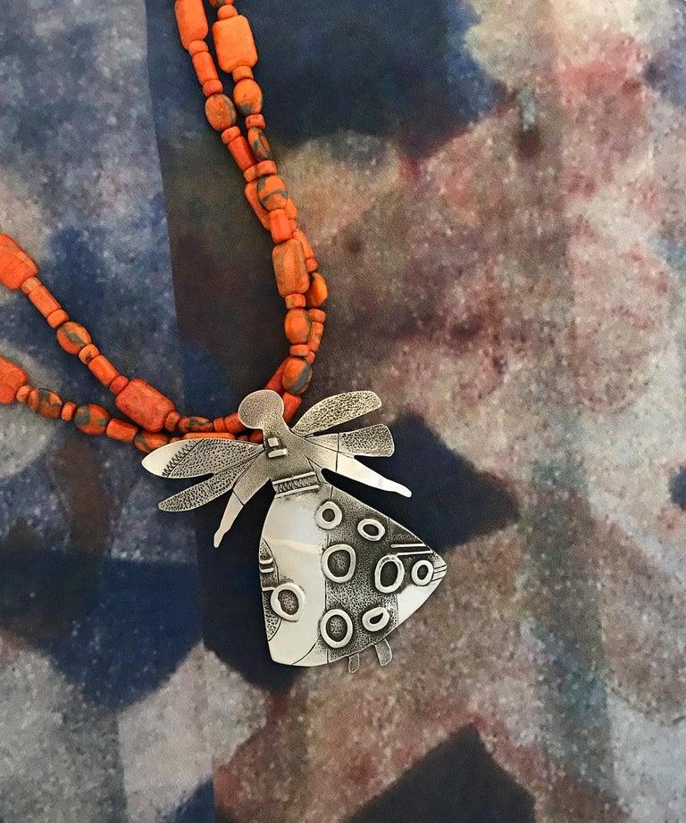 Salt Water Girl, Melanie Yazzie enhancer, pendant, sterling silver,  Navajo  For Sale 5