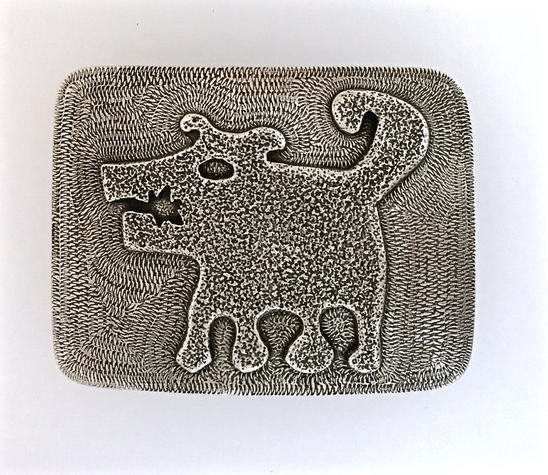 Sombra Girl, white bronze belt buckle, dog Melanie Yazzie Navajo Native American In New Condition For Sale In Santa Fe, NM