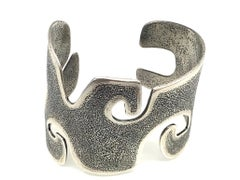 Grandmother, contemporary cast silver wide cuff bracelet Melanie Yazzie Navajo