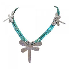 Dragonfly necklace, cast silver Kingman turquoise beads Melanie Yazzie Navajo