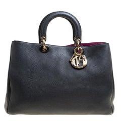 Dior Black Leather Large Diorissimo Shopper Tote