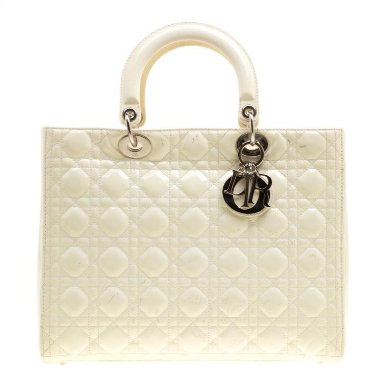 Dior Cream Patent Leather Large Lady Dior Tote at 1stdibs 4faec4066be94