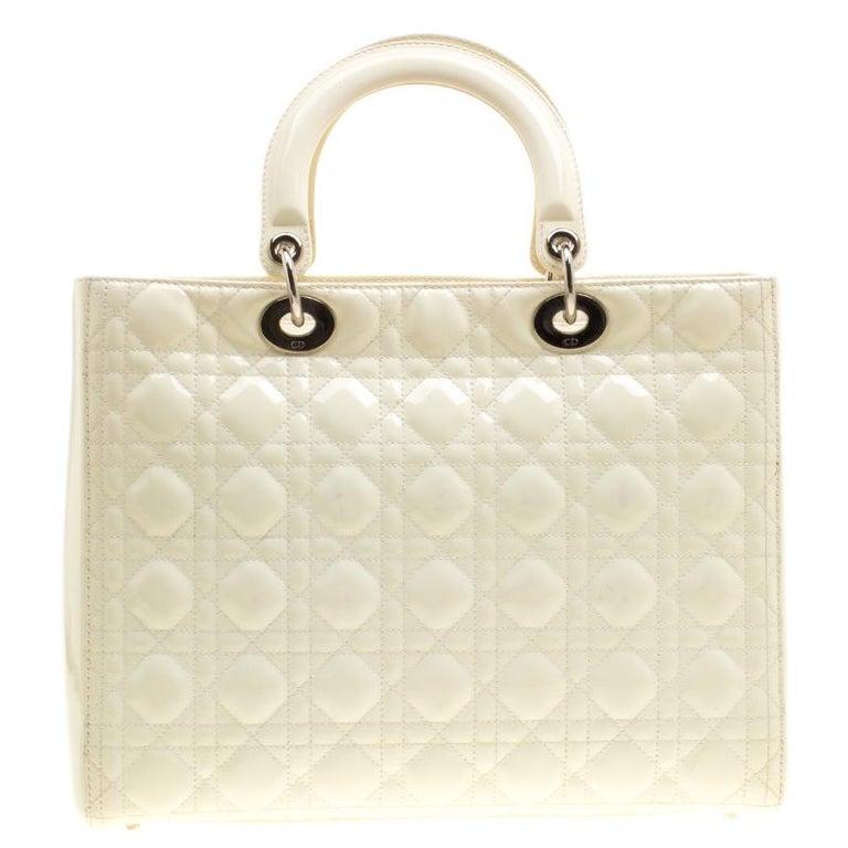 Dior Cream Patent Leather Large Lady Dior Tote In Good Condition For Sale  In Dubai b4516e55c473f