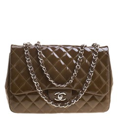 Chanel Olive Green Quilted Patent Leather Jumbo Classic Single Flap Bag