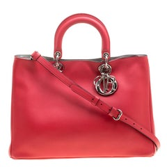 Dior Red Leather Large Diorissimo Shopper Tote