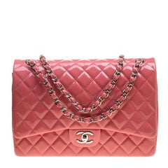 Chanel Pink Quilted Patent Leather Maxi Classic Double Flap Bag