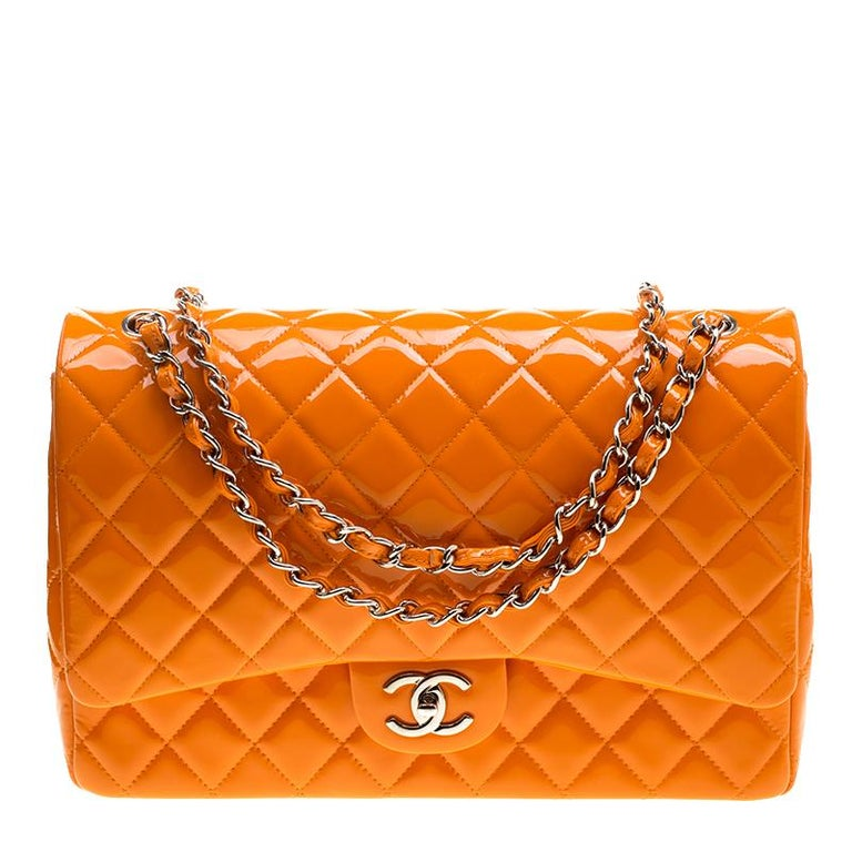 Chanel Orange Quilted Patent Leather Maxi Classic Double Flap Bag