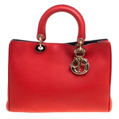 Dior Red Leather Medium Diorissimo Shopper Tote