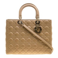 Dior Brown Leather Large Lady Dior Tote