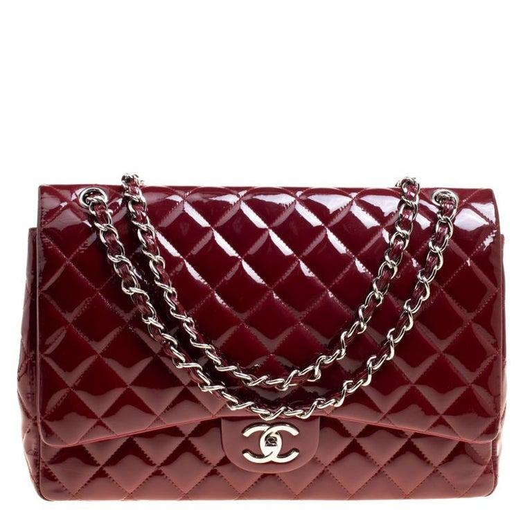 0060a211e73ea StartseiteModeHandtaschen und PortemonnaiesHenkeltaschen. Chanel Rote  Gestepptes Lackleder Maxi Klassisch Doppelumschlag Tasche 1