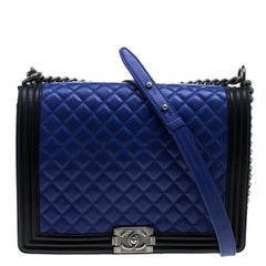 Chanel Blue/Black Quilted Leather Large Boy Flap Bag