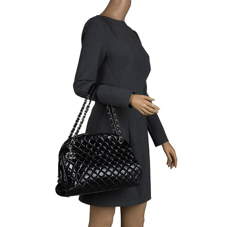 9068ce1b19d676 Chanel Black Quilted Aged Leather Just Mademoiselle Bowling Bag In Good  Condition For Sale In Dubai
