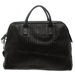 Bottega Veneta Black Intrecciato Leather Weekender Bag
