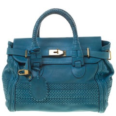 Gucci Blue Leather Large Handmade Top Handle Satchel