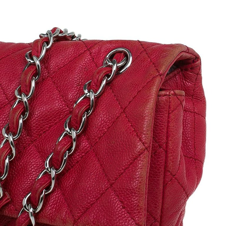c7bb91f53cba25 Chanel Red Washed Caviar Leather Maxi Jumbo XL Classic Flap Bag For Sale 3