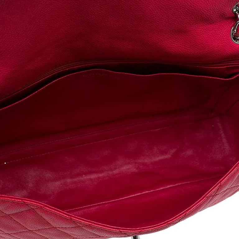 f7b010104c8f82 Chanel Red Washed Caviar Leather Maxi Jumbo XL Classic Flap Bag For Sale 6