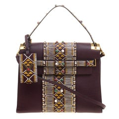 Valentino Burgundy Painted Leather My Rockstud Top Handle Bag