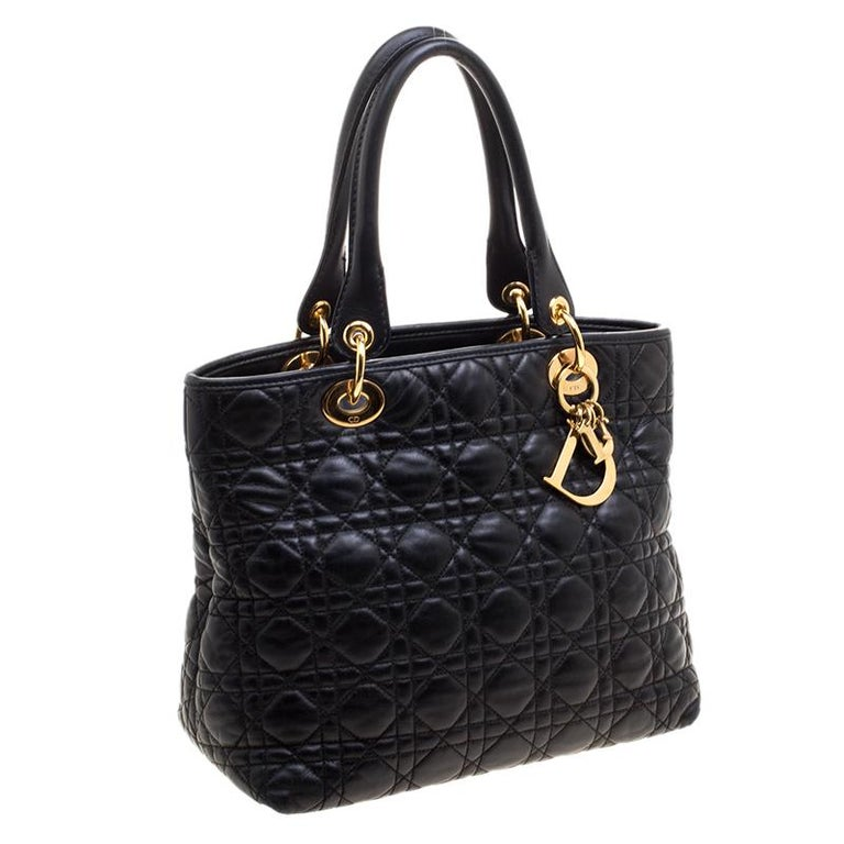 Women S Dior Black Quilted Soft Leather Lady Tote For