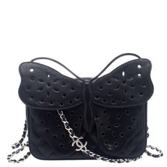Chanel Black Quilted Leather Mini Butterfly Crossbody Bag