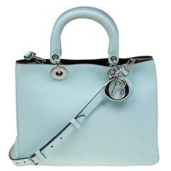 Dior Light Mint Leather Medium Diorissimo Shopper Tote