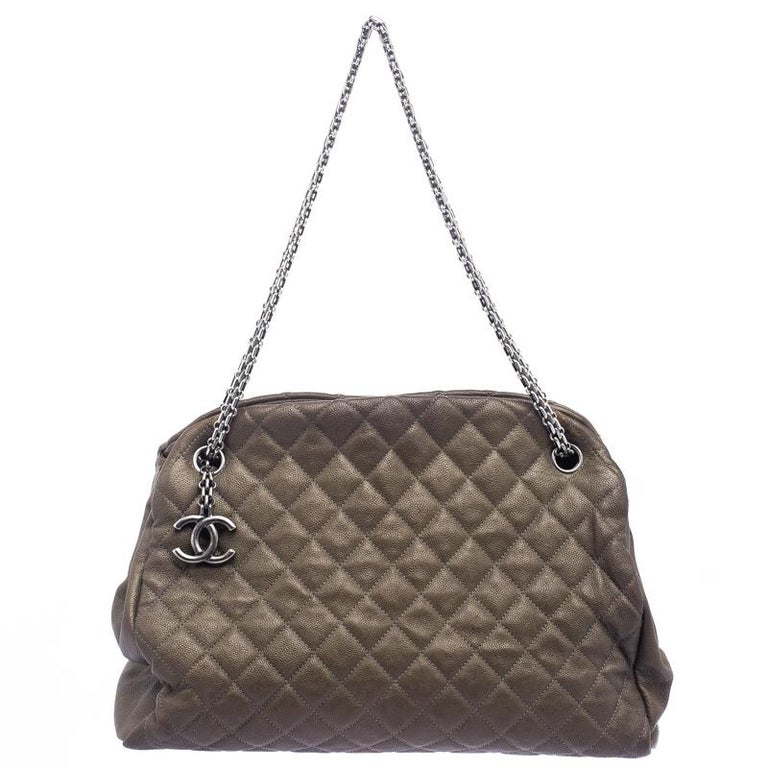 4ea0474efa04d6 Chanel Dark Beige Quilted Caviar Leather Large Just Mademoiselle Bowling Bag  For Sale