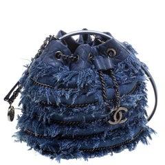 Chanel Blue Denim CC Chains Fringe Drawstring Bucket Bag