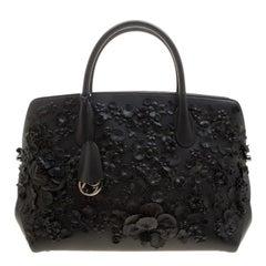 Dior Black Leather Medium Floral Applique Dior Bar Tote