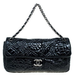 Chanel Black Embossed Patent Leather Flap Bag