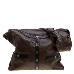 Chanel Dark Brown Leather Large Girl Chanel Bag