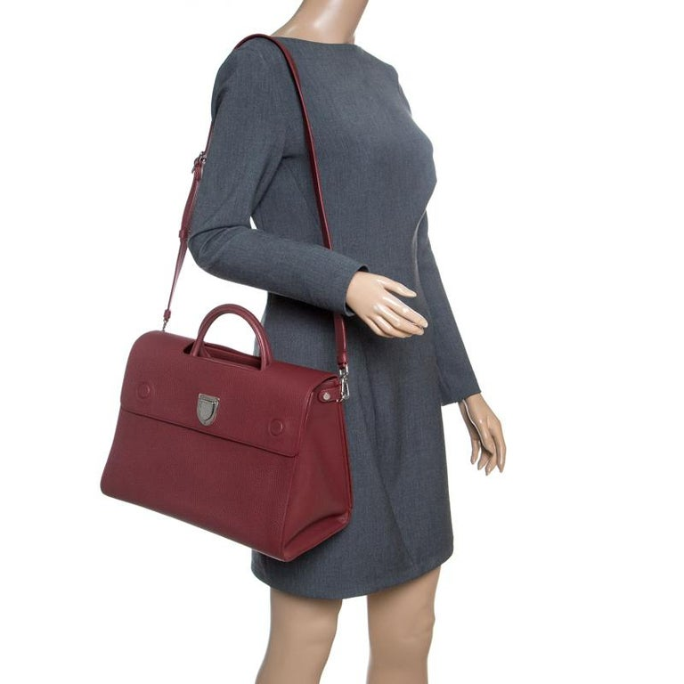 Brown Dior Burgundy Leather Large Diorever Bag For Sale ea9b19ae1e203